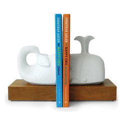 Whale Bookends - Jonathan Adler's whimsical whale bookends are a fun way to prop up beach reads on a mantle or bookshelf.