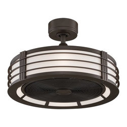 """Fanimation - Fanimation Beckwith 23"""" Ceiling Fan - Blades, Integrated Drum Light, and Remote - Included Components:"""