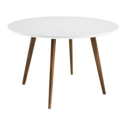 "n/a - Molina 47"" Dining Table, White - With its tapered solid ash wood legs and round white MDF top, Molina dining table wears its Mid-Century Modern influences proudly, yet its spare silhouette will complement a vast array of decor styles."