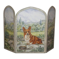 "Stupell Industries - Corgi Dog 3 Panel Decorative Fireplace Screen - Decorative and functional. Made in USA. Original Stupell art. 44 in. W x 31 in. H (Approx.). 0.5 in. ThickA fireplace screen from ""The Stupell Home decor Collection"" will be the focal point of any room and the beautiful color and design will immediately enhance your hearth and it's surroundings. Both functional and decorative, this one of kind screen will keep your fireplace out of sight when it's not in use. This piece is handcrafted from original artwork by English muralist Julie Perren. A lithograph is laminated on sturdy 1/2'' thick mdf fiberboard and the sides are hand painted. The item is already assembled in the box and ready to be put in front of the fireplace. Made in USA."