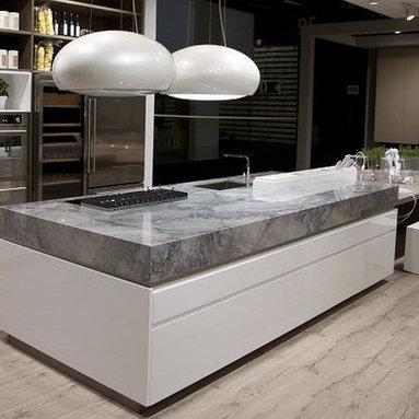 Kitchens - Super White quartzite kitchen countertops, Super White from Levantina, granite countertops, quartzite, marble, natural stone, grey kitchen, white kitchen, grey granite,  kitchen island, exotic, Levantina