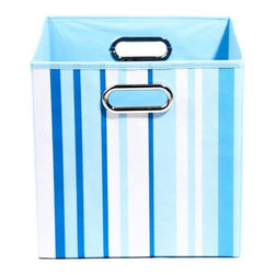 Modern Littles - Sky Stripes Folding Storage Bin - Slim bold stripes in buoyant blue keep your clutter situation under control. Toss in everything from books to blankets to toys, then take hold of the handles and you're good to go.