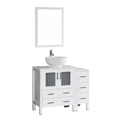"Bosconi - 42"" Bosconi AB130RO1S Single Vanity, White - Sophistication is priority with this fresh 42"" glossy white Bosconi vanity set. The ceramic, round vessel sink and perfectly matching mirror accentuate the modernistic approach to the design. Features include one center cabinet with soft closing doors and one detached side cabinet with three drawers. All spacious enough to store towels, toiletries and bathroom accessories."