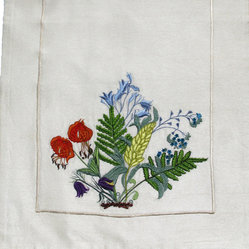 Wildflowers and Ferns Table Art Runners - Tame the botanical beauty of a field in bloom when you roll out this handcrafted runner. Your table will blossom with these vibrant embroidered wildflowers and ferns atop it.