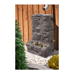 Granite Rain Collector / Rain Barrel Fountain - If you're looking for a rain barrel or rain collector, AND a fountain, this is the best solution.  It catches rain, then recycles it through a fountain.  Functional, beautiful, and eco friendly.  Retails for $302.57 with free shipping from http://www.simplyrainbarrels.com