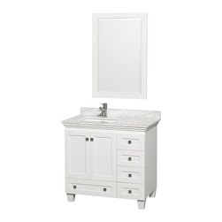 "Wyndham Collection - Wyndham Collection 36"" Acclaim White Single Vanity w/ White Porcelain Sink - Sublimely linking traditional and modern design aesthetics, and part of the exclusive Wyndham Collection Designer Series by Christopher Grubb, the Acclaim Vanity is at home in almost every bathroom decor. This solid oak vanity blends the simple lines of traditional design with modern elements like square undermount sinks and brushed chrome hardware, resulting in a timeless piece of bathroom furniture. The Acclaim comes with a White Carrera or Ivory marble counter, porcelain, marble or granite sinks, and matching mirrors. Featuring soft close door hinges and drawer glides, you'll never hear a noisy door again! Meticulously finished with brushed chrome hardware, the attention to detail on this beautiful vanity is second to none and is sure to be envy of your friends and neighbors!"