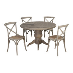 Jofran - Jofran Burnt Grey 5 Piece 48 Inch Round Dining Room Set w/ X Back Side Chair - Attractive looks and a versatile build make this table an imperative inclusion. With an adaptable design and pleasing aesthetics, this table is an all-inclusive solution to providing both style and utility. Show off your sensible personality with the addition of this table. This chair effortlessly adds alluring comfort and style to your home. The beautiful versatility of this chair demonstrates your sensibility and personality. Be sure to take a break and enjoy all this chair has to offer. What's included: Dining Table (1), Side Chair (4).