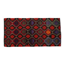 The Orient Bazaar - Vintage Handmade Kilim Rug - This diamond antique kilim rug was hand woven in west of Turkey in 1960s. This handmade Turkish Rug embroidery rug gives a perfect look with the bright colors of red, green, lilac and black.