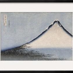Artcom - Le Fuji bleu by Katsushika Hokusai Artwork - Le Fuji bleu by Katsushika Hokusai is a Framed Giclee Print set with a CHELSEA Black wood frame and a Crisp - Bright White mat.