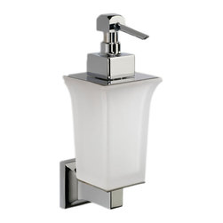 "Modo Bath - Domino H605DS Wall Mounted Soap Dispenser in Frosted Glass - Domino H 605DS Wall Mounted Soap Dispenser, 3.0"" W x 8.3"" H, in Frosted Glass"