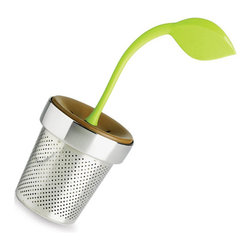 "Chef'n - TeaLeaf Tea Infuser - Tea-lovers know about the various health benefits of regular tea sippin', but there's more to it than just keeping your heart happy. It's also a great way to stimulate your senses! Brighten your afternoon tea with the TeaLeaf Tea Infuser. Its cheerful heat-resistant silicone stem ""plants"" into the stainless steel pot, so you can quickly steep your favorite loose leaf tea. It's just brilliant!"