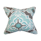 The Pillow Collection - Adriel Geometric Pillow Blue Gray - Create a contemporary feel to your living space with this accent pillow. This throw pillow features an intricate geometric pattern in shades of blue, white gray. Toss this square pillow to your sofa, bed or seat for extra comfort and style. Constructed using a blend of high-quality materials: 55% cotton and 45% linen fabric. Made in the USA.