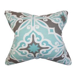 "The Pillow Collection - Adriel Geometric Pillow Blue Gray 18"" x 18"" - Create a contemporary feel to your living space with this accent pillow. This throw pillow features an intricate geometric pattern in shades of blue, white gray. Toss this square pillow to your sofa, bed or seat for extra comfort and style. Constructed using a blend of high-quality materials: 55% cotton and 45% linen fabric. Made in the USA."