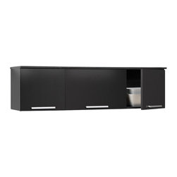 Prepac - Prepac Coal Harbor Black Wall Mounted Hutch - The Coal Harbor Hutch gives your home more storage without taking away any of its floor space. Perfectly suited for a dining room, living room, office or entryway, this elegant storage solution mounts to the wall for a clean look and easy access. Doors come equipped with tastefully hidden, convenient self-closing hinges, and handles are solid metal with a brushed nickel finish. Pair it with the Coal Harbor Buffet and get the perfect duo for space-saving storage.
