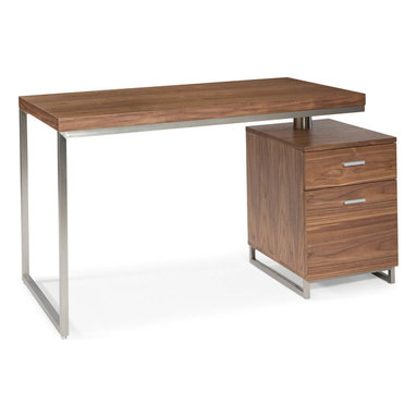 """Moe's Home Collection - Martos Desk Walnut - Contemporary desk with stainless steel accents with self contained filing cabinet. This desk will fit in any size home or office. MDF and brushed stainless steel. Dimensions: 47""""W x 24""""D x 30""""H."""