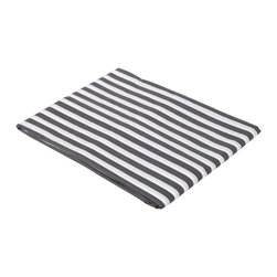 Bacati - Grey Pin Stripes Crib Fitted Sheet - Bacati - Grey Pin Stripes Crib Fitted Sheet made from 100 % cotton percale fabric. It has a pearl string print on white background. Crib sheet has reinforced corners and elastic all around for secure fit. It is machine washable and gets softer with every wash. It coordinates well with Bacati Dots/Pin Stripes Grey/Yellow bedding collection. Cotton is a green fabric as it is renewable resource & biodegradable. Cotton is breathable making it more comfortable in extreme climates. Cotton is inherently soft delicate on skin of babies, durable & user friendly. Cottons gentle quality makes it appropriate for Babies with very sensitive skin or skin allergies.