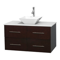 "Wyndham Collection - Centra 42"" Espresso SGL Vanity, White Stone Top, White Porcelain Sink, No Mrr - Simplicity and elegance combine in the perfect lines of the Centra vanity by the Wyndham Collection. If cutting-edge contemporary design is your style then the Centra vanity is for you - modern, chic and built to last a lifetime. Available with green glass, pure white man-made stone, ivory marble or white carrera marble counters, with stunning vessel or undermount sink(s) and matching Mrr(s). Featuring soft close door hinges, drawer glides, and meticulously finished with brushed chrome hardware. The attention to detail on this beautiful vanity is second to none."