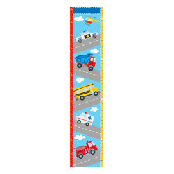 """WallPops - Transportation Growth Chart Wall Decal - An adorable idea for kids decor, this wall decal features both an action packed road scene and a handy growth chart! Kids will love keeping track of how tall they are getting on this colorful growth chart decal.  The transportation growth chart decal is 9.75"""" x 48"""" and contains both US standard and metric units. WallPops are repositionable and always removable."""