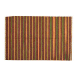 Striped Hand Woven Reversible 100% Wool Durie Kilim 4'x7' Flat Weave Rug SH15768 - Soumaks & Kilims are prominent Flat Woven Rugs.  Flat Woven Rugs are made by weaving wool onto a foundation of cotton warps on the loom.  The unique trait about these thin rugs is that they're reversible.  Pillows and Blankets can be made from Soumas & Kilims.