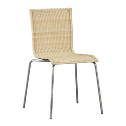Rattan Dining Chair with Chrome Legs - I've always had a thing for wicker, and I love seeing it modernized with metal legs. This chair would work great at a kitchen table for a modern European look.