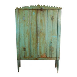 ecofirstart - Antique Guatemalan Painted Cabinet - This rustic, two-door cabinet speaks volumes about its owners. Crafted of sustainable wood with three interior shelves and a unique scalloped edge across the top, you can't resist opening your heart to the charm of Guatemala in showcasing this antique as a special fixture in your home.