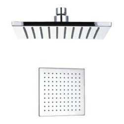 """Aqua - Rain Shower Head 8"""" Square Brushed Nickel - •Swivel function. •Ceiling mount. •1/2"""" IPS connections. •Maximum water pressure of 80 psi. •Made of solid brass materials"""