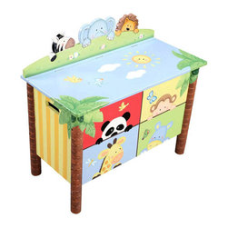 """Teamsons Sunny Safari Wooden Hand Painted Toy Box - Sunny Safari toy box is finely hand painted with the safari animal design, making it an eye catching piece for kids. This impressive toy chest has safety hinges so it won't hurt those little fingers. Dimensions: 30 5/8"""" x 15 1/2"""" x 28"""" Note: some assembly may be required."""