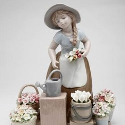 CG - Girl in Brown Dress and White Apron with Flower Baskets Figurine - This gorgeous Girl in Brown Dress and White Apron with Flower Baskets Figurine has the finest details and highest quality you will find anywhere! Girl in Brown Dress and White Apron with Flower Baskets Figurine is truly remarkable.