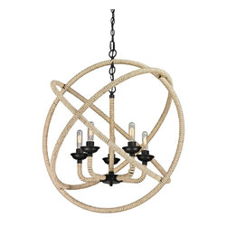 Elk Lighting - Elk Lighting 15902/5 Pearce Collection 5 light chandelier in Matte Black - This collection showcases natural rope wrapped around a durable metal frame. The Matte Black finished frame is a perfect contrast to the textures of the organic fibers. This series can be ordered with or without glass to best compliment your design scheme. If ordered without glass, our optional antique filament bulbs can convey a more nostalgic or romantic ambiance.