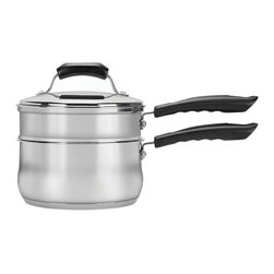 Range Kleen - Basics 3-Pc 2 Qt. Double Boiler Set - Premium quality stainless steel. Encapsulated bottom distributes heat evenly. Heavy gauge steel handles with cool touch phenolic riveted for maximum durability. Premium quality stainless steel lids. Oven safe up to 350 degree F