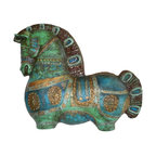 Pre-owned Bitossi-Style Wall Horse - A rare and magnificent reinforced plaster wall horse attributed to Bitossi with the signature incising, texture and turquoise, green, and gold glaze. Stunning in size and color with iconic bold and stylized design. Some wear and chips to the outer edges that are minor and not readily visible. Expertly executed with 2 hooks made into the verso for hanging. Unmarked but clearly shows all the attributes of Bitossi style.