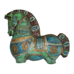 Used Bitossi-Style Wall Horse - A rare and magnificent reinforced plaster wall horse attributed to Bitossi with the signature incising, texture and turquoise, green, and gold glaze. Stunning in size and color with iconic bold and stylized design. Some wear and chips to the outer edges that are minor and not readily visible. Expertly executed with 2 hooks made into the verso for hanging. Unmarked but clearly shows all the attributes of Bitossi style.