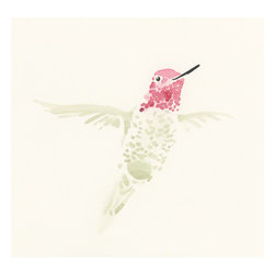 Humming Bird - This  beautiful print is based on an original watercolor painting by Estanides Gomez and reproduced to look as close to the original in color and texture as humanly possible by the artist himself.  Printed on archival ink paper for fine art reproductions and designed with an extremely smooth, acid free, natural white surface. Your print will arrive within 3 to 5 business days and will be shipped using acid free packaging to ensure that your purchase arrives clean and ready for framing.