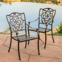 Christopher Knight Home - Christopher Knight Home Delray Cast Aluminum Outdoor Dining Chair (Set of 2) - The Delray dining chair will bring luxury and convenience to your outdoor space. Made from cast aluminum,these durable high quality chairs feature intricate design on the backrest and a mesh seat rest.