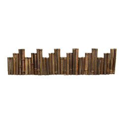 "Master Garden Products - Unlevel Black Bamboo Edging, 12""H x 96""L - These black bamboo edgings are great as accents in your garden. These are made of 1"" diameter black bamboo poles for visual enhancement. It is flexible and can be bent to different shapes, such as a circle. The top of the poles are cut just above the notch so water will not accumulate in the bamboo poles. The bamboo is drilled and strung together using heavy galvanized wire but designed in a way so that no wire is visible. Comes in rolled form so it is flexible and very easy to install."