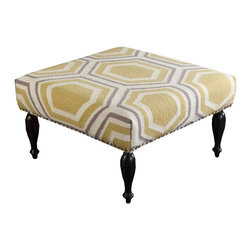 "Surya - Beige, Gold and Gray Hexagon Ottoman by Surya - The soft contrast of a beige, gold and gray hexagon pattern is woven of 100% wool and upholstered around a wood base. Elevated on four shapely legs, this can be used as additional seating or as a table because of its flat surface. Add a great tray for serving or display. (SY) 32"" square x 18"" high"