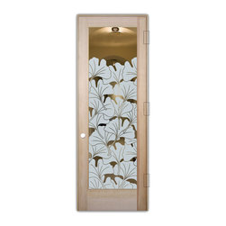 "Sans Soucie Art Glass (door frame material T.M. Cobb) - Interior Glass Door Sans Soucie Art Glass Gingko Leaves - Sans Soucie Art Glass Interior Door with Sandblast Etched Glass Design. GET THE PRIVACY YOU NEED WITHOUT BLOCKING LIGHT, thru beautiful works of etched glass art by Sans Soucie!  THIS GLASS IS SEMI-PRIVATE.  (Photo is View from OUTside the room.)  Door material will be unfinished, ready for paint or stain.  Satin Nickel Hinges. Available in other wood species, hinge finishes and sizes!  As book door or prehung, or even glass only!  1/8"" thick Tempered Safety Glass.  Cleaning is the same as regular clear glass. Use glass cleaner and a soft cloth."