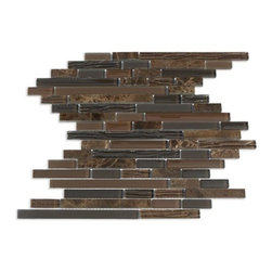Supah Fish Tiles - Spirited Glass Chocolate Brown Random Mosaic - This glass mosaic series comes in two sizes. A mini square mosaic and a random linear pattern. Your backsplash is ready to be covered.