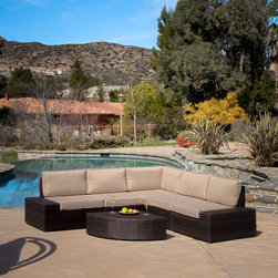 Christopher Knight Home - Christopher Knight Home Santa Cruz Outdoor Brown Wicker Sofa Set - Never again stress about having your guests sit comfortably outside. With this large outdoor sofa set,you will always have plenty of comfortable seats for your friends and family to lounge and relax.