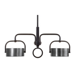 Uttermost - Belding 2-Light Kitchen Island Fixture - This lamp's edgy symmetry will give your room an extra lift. Crafted from dark chocolate bronze and brushed aluminum, the sleek lines and squared-off curves strike just the right balance between beautiful and industrial.