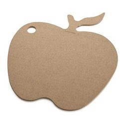 Epicurean® Natural Dishwasher-Safe Apple Board - This easy-care, eco-friendly cutting board in a fresh apple shape is handcrafted in Minnesota from sustainably harvested American wood. The construction process uses wood pulp certified by the Forest Stewardship Council (FSC), a nonprofit organization that encourages responsible management of the world's forests. Food-safe resin is added in a technique that dramatically reduces waste, while Greenguard certification assures adherence to strict chemical emission standards, contributing to healthy homes. Dishwasher-safe board with convenient hanging hole will not warp, crack or dull cutlery.