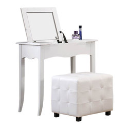 Homelegance - Homelegance Sparkle Vanity Desk with Lift Top Mirror in White - The glamour girl in your life will swoon when she opens her bedroom door to the Sparkle collection. Fashion forward and scaled to fit her needs, this trendy bedroom will make her the envy of all of her friends. White bi-cast vinyl is featured not only on the tufted headboard, but on the drawer fronts of each case piece and coordinating vanity and storage stools. Clear hardware is faceted for maximum sparkle and punctuates each drawer front. Matching vanity features a hidden mirror within the lift top storage area.