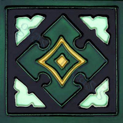 """Glass Tile Oasis - Mayan 6"""" x 6"""" Green 6"""" x 6"""" Deco Tiles Glossy Ceramic - All ceramic tiles are hand painted. Glazed thickness will vary from tile to tile, resulting in color variation. Hand-Painted Ceramic tiles will craze and crackle over time, which is intentional and a desired effect."""