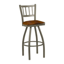 "Regal - Steel Jailhouse Back Metal Swivel Barstool with Wood Seat - Bar Stool Features: -4-Frame finish options. -4-Seat finish options. -Steel frame. -European beach wood seat. -30"" seat H. -Swivel bar stool. -Open back design. -Frame features a 10-year limited warranty. -1-Year limited manufacturer warranty for both commercial and residential use. -Overall dimensions: 43.5"" H x 17"" W x 17"" D. Please Note: For orders of 12 products or more, discounts may apply. Please call to place your order."