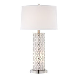 "Lamps Plus - Contemporary Mid-Century Cylinder Night Light Table Lamp - Add some glamour to your decor with this mid-century fabulous table lamp. The column base features a cutout design that lets the glow of the built-in night light shine through. Topped with a smart fabric drum shade and coordinating finial. Four-way switch lets you control the lighting. Metal base. Satin steel finish. Fabric drum shade. Takes one 100 watt bulb (not included). Includes one 7 watt night light bulb. 28 1/2"" high. Shade is 15"" across the top 16"" across the bottom and 10"" high.  Satin steel finish.   Metal base.  Fabric drum shade.  Built-in night light.  Four-way switch.  Takes one 100 watt bulb (not included).   Includes one 7 watt night light bulb.   28 1/2"" high.   Shade is 15"" across the top 16"" across the bottom and 10"" high."