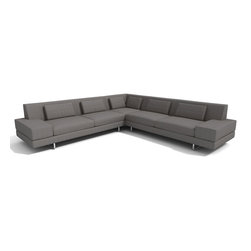 "TrueModern - Hamlin 118"" x 118"" Corner Sectional Sofa in Calvin Dolphin - Clean lined Hamlin 118"" x 118"" Corner Sectional Sofa in Calvin Dolphin has a medium density cushion, allowing you to sit down into comfortable and modern shape. The down, feather filed kidney shaped back pillow offers a soft and cozy relaxing every day. The stitching is made with a classic baseball stitch and the same stitch creates a cross pattern for both the back pillows and back rest. *Sofa Depth: 37"" *Seat Height: 16"""