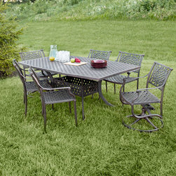 """Napoli Collection Cast Aluminum 72"""" Rectangular Dining Set - 7 Piece - Add elegance and comfort to your outdoor living area with this seven piece Napoli Collection dining set. With a 72"""" table and chairs to seat six, this cast aluminum dining set is sure to meet all of your entertaining needs."""