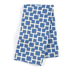 "Bright Blue Square Trellis Custom Napkin Set - Our Custom Napkins are sure to round out the perfect table setting""""_whether you're looking to liven up the kitchen or wow your next dinner party. We love it in this modern electric blue geometric trellis on white lightweight linen. who knew being hip could be so square?"