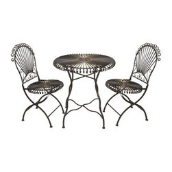 Lucille 3 Piece Bistro Set - Get lost in your own garden with the Lucille 3 Piece Bistro Set. Wrought iron scrollwork gives this set a whimsical feel. It includes a French-inspired bistro table and two chairs. Place it in your yard for an easy way to relax as you sip your tea and read the paper.About AspireSpecializing in quality lamps, wall art, clocks, mirrors and accent vases, Aspire offers a wide selection of products for every taste. You'll appreciate the designer look without the designer prices. Aspire is family owned and operated, and has served the home decor industry for over 30 years. Thanks to beautiful design with quality in mind, they continue to flourish.