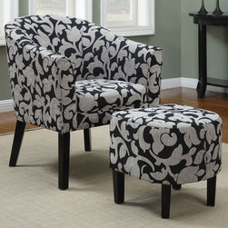 Coaster - 902062 Accent Chair - This patterned black and white barrel back chair features an ultra soft exterior, a chic look and plush seating. Matching ottoman is included.